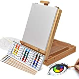 Artina Florenz Box Easel Artists Painting Set with 18 Acrylic Paints 6 Brushes & Canvas Art Table Easel with...