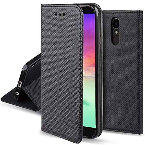 Moozy Cover per LG K10 2017, Nero - Custodia a Libro Flip Smart Magnetica con Appoggio e Porta Carte