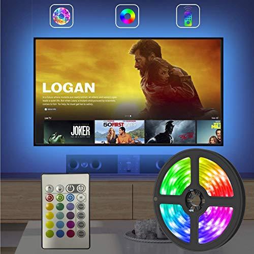 LED TV Retroilluminazione, 2.5m Striscia LED RGB USB alimentata Retroilluminazione TV LED con Telecomando, 16 Colori e 4 Modalità per HDTV da 40-65 Pollici, PC Monitor ecc