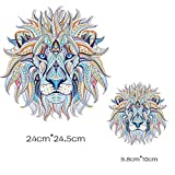 2 Unds. Pegatina transfer XXL parche termoadhesivo leon mandala para cazadoras camisetas, jerseys, sudaderas, mochilas.24 x 24 y 10 x 10 cm de CHIPYHOME