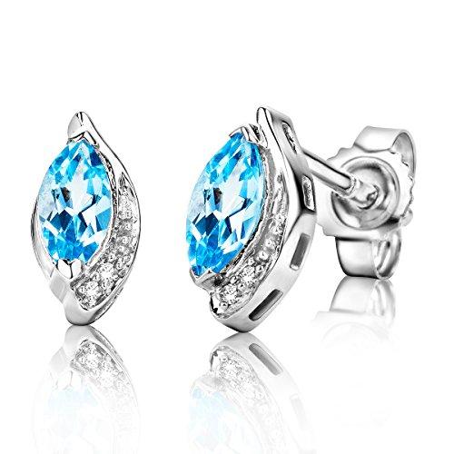Miore Damen Weißgold Topas Ohrstecker Ohrringe 9KT (375) mit Diamant Brillanten