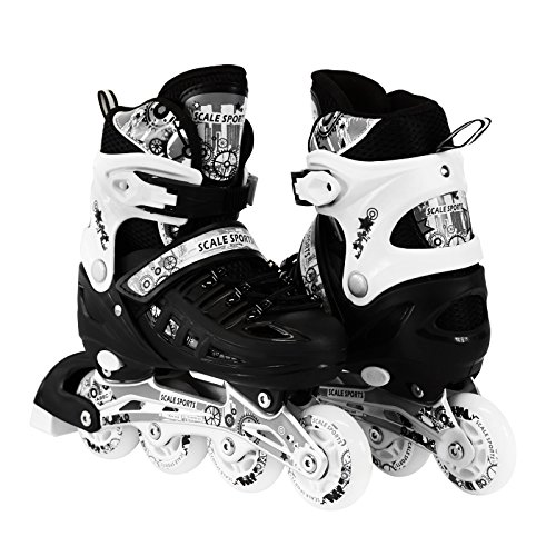 Kids Adjustable Inline Roller Blade Skates Scale Sports Black Large Sizes for Ladies Teens Safe Durable Outdoor Featuring Illuminating Front Wheels 905