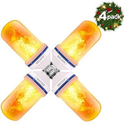Omicoo LED Flame Effect Light Bulb (4 Pack), 4 Modes Flame Light Bulbs with Gravity Sensor, E26/ E27 Base, Vintage Flame Bulb for Atmosphere Festival Christmas Decoration