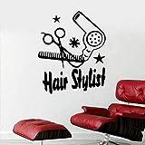 AGiuoo Cute Hair Stylist Tools Calcomanía de Pared de Dibujos Animados Etiqueta de salón de Belleza Decoración extraíble 84x98cm