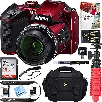 Nikon COOLPIX B500 16MP 40x Optical Zoom Digital Camera w/ WiFi - Red  Renewed  + 16GB SDHC Accessory Bundle