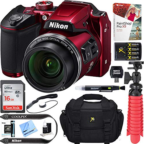 Nikon COOLPIX B500 16MP 40x Optical Zoom Digital Camera w/ WiFi - Red (Renewed) + 16GB SDHC...