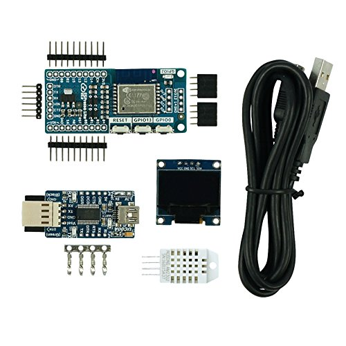 ESPresso Lite V2.0 low-cost Arduino-compatible ESP8266 WiFi development board IoT Starter Kit, comes with UC00A, 12C OLED, DHT22 and Mini B Cable