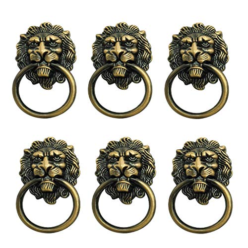 6 Pack Lion Head Knob Pull Handle for Dresser Drawer Cabinet Jewelry Box with Drawer Ring 1.57 x 2.64 Inch Antique Door Pulls Handle Knobs(Bronze)