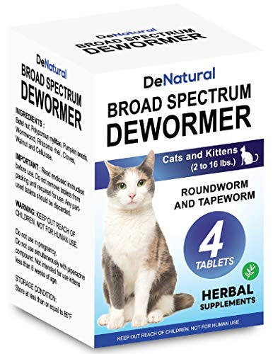 DeNatural Cat Dewormer | Natural Health Supplements | Intestinal Cleanse | All Worm | Works for Kittens, Medium and Large Cats | 4 Tablets | One-time Treatment
