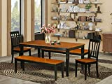 5 Pc Dining room set with bench-Kitchen Tables and 2 Dining Wood Seat Chairs Plus 2 bench