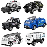 Hautton 6 Vehículos de Juguete Fundidos, Mini Modelo Aleación Vehicular Camionetas de Polícia Camión Especial de Fuerzas de Seguridad para Niños Chicos -SWAT