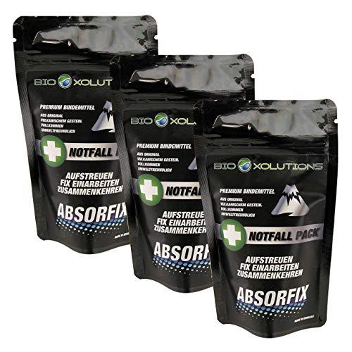 Absorfix Notfallpack fürs Auto - Geruchsentferner und natürliches Bindemittel für alle Flüssigkeiten - Absorbiert Erbrochenes, Urin, Öl, Benzin, Speisereste, Getränke, UVM. (3 x 25g)