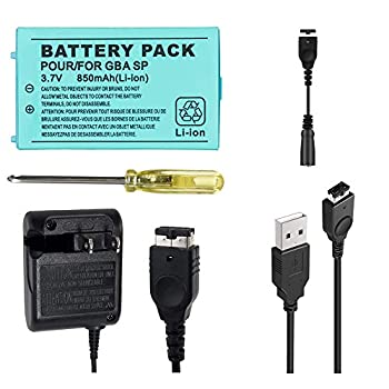 TFSeven 1Pcs Nintendo GBA SP Replacement Battery 850mah 3.7V Rechargeable Lithium Ion + AC Adapter 5.2V 320mA Wall Charger Power Supply for Nintendo GBA Sp Gameboy Anvance Accessories Bundle Kit