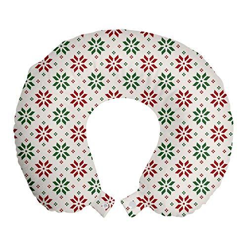 ABAKUHAUS Navidad Cojín de Viaje para Soporte de Cuello, Noruega Rose, de Espuma con Memoria y Funda Estampada, 30x30 cm, Rojo Verde Blanco