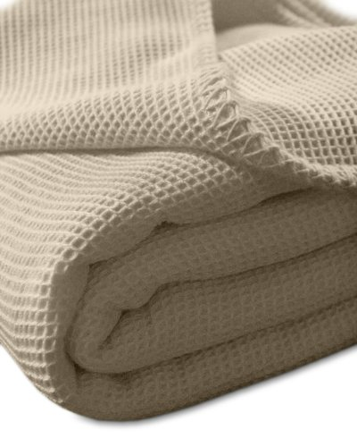 kneer KULTUR DER NACHT Waffelpique Decke, Baumwolle, Natur, 150 cm x 210 cm