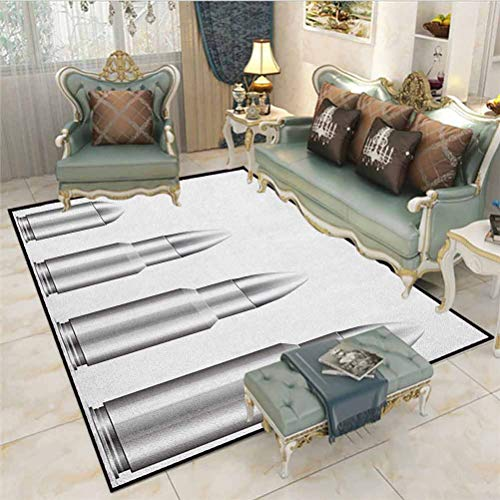Silver Kids Room Rugs Living Room Carpet Girls Room Rug Set of Bullets from Small to Big Military Ammunition Weapon Shotgun Firearm Defense Carpet Squares for Classroom Gray White 5 x 6 Ft