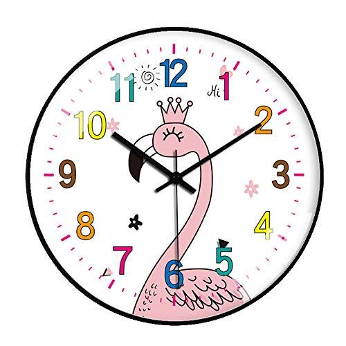 ZZLHHD Marco Plata Reloj Pared ModernoReloj de Pared nórdico con pequeños Animales gato-89 negroSimple Mute Moda Reloj Pared