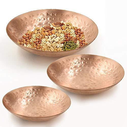 WorldOfIndianArt presenta plato de cobre martillado para aperitivos o frutas secas vajilla