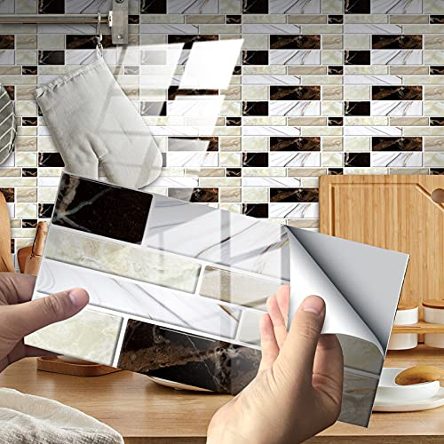 Exnemel 48pcs Pegatinas de Azulejos para baño Cocina Autoadhesivas Impermeables transferencias de Azulejos de Pared de Metro Papel Pintado de Vinilo con Efecto de azulejo de cerámica DIY