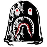 Bape Shark Black Camo Drawstring Bags Backpack Hipster Sackpack Travel Sport Beach Daypack