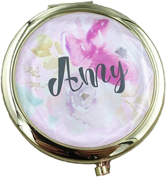 Personalized Custom Engraved Foldable Compact Mirror Purse Pocket Makeup Mirror With 1X 2X Magnification Velvet Gift Box Packing Gold 1