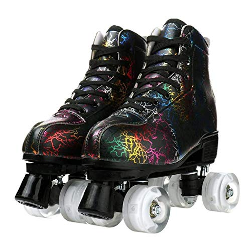 AILSAYA Rollschuhe Classic Quad Artistic Rollschuh Adult Youth Unisex, Indoor Eiskunstlauf, High Skate Street Zweireihig Blitz Roller Vier Runde Rollschuhe,Transparent Wheel,36