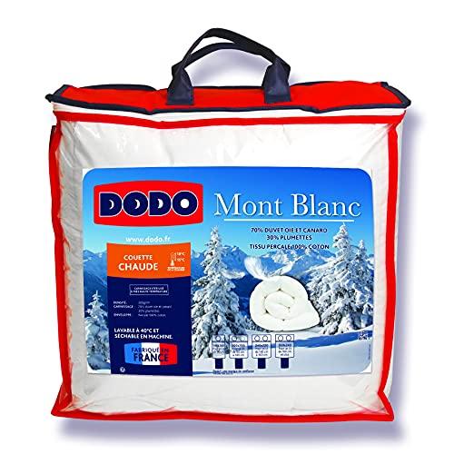DODO - Couette Chaude Mont Blanc 220X240 - Densité 300g/m2 - Garnissage Duvet d'Oie Plumettes - Housse 100% Percale de Coton - Traitement Antiacarien - Fabriqué en France - Lavable en Machine à 40°