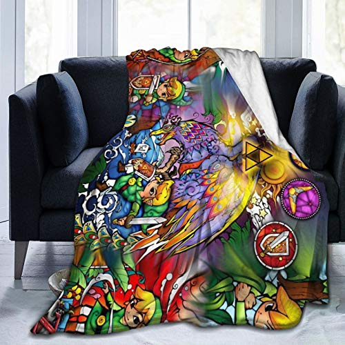 EOUNMSU Legend of Ze-lda Wind Waker Ultra-Soft Fleece Knit Thin Blanket for Couch Sofa Bed, Custom Microfiber Soft Lightweight Breathable Quilts Colorful Decorative Throws 60x50