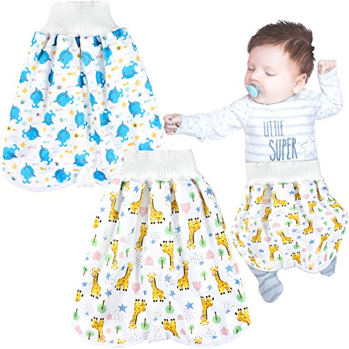 Leekalos Upgrade Training Pants Cloth Diaper Skirts/Shorts for Babies and Toddlers - 2 Pack Bamboo Waterproof Toilet Training Pants Diaper Guard for Bedwetting Boys and Girls(Giraffe Whale, 0-4T)