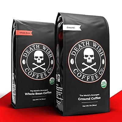 DEATH WISH Ground Coffee [16 Oz.] Bundle with DEATH WISH Whole Bean Coffee [16 Oz.] | The World's Strongest Coffee | Dark Roast Coffee | USDA Certified Organic, Fair Trade | Arabica and Robusta Beans