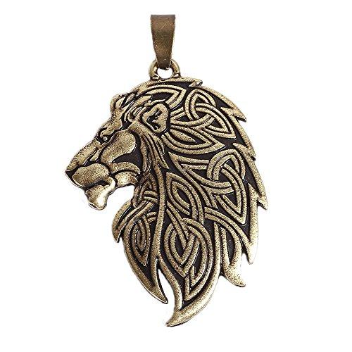 QIANJI Cletic Lion Pendant Necklace Vintage Jewelry Bronze
