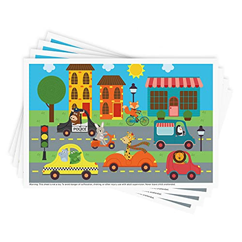 Disposable Stick-on Placemats 40 Pack for Baby & Kids, Restaurant Table Topper Mat 12' x 18' Sticky Place Mats,Toddler Baby Placemat Animals Driving Cars Theme