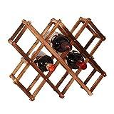 Estante de vino de madera plegable de 10 ranuras para almacenamiento de botellas de vino mesa de estante para vino estante para botellas de pie estante para vino estante para vino de madera encimera