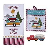 18th Street Gifts Happy Camper RV Decor – Juego de toallas de plato, manopla de horno y pimienta de sal – Accesorios de cocina para interior de su remolque de viaje o autocaravana