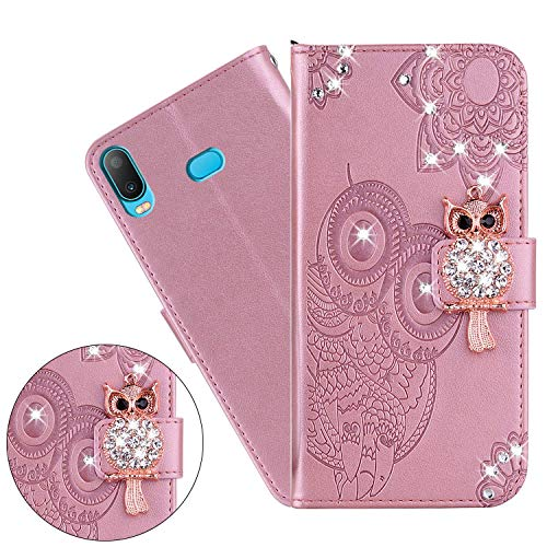 Hnzxy Xiaomi Redmi Note 8 Pro Case,Xiaomi Redmi Note 8 Pro Cover,3D Glitter Diamond Owl Flower Embossing Flip Case Stand PU Leather Book Wallet Case Card Slot Magnetic Silicone Bumper Cover,Rose