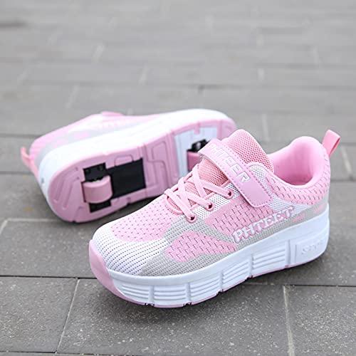 qmj Zapatos con Ruedas para Niñas Niños Niños Zapatillas De Deporte De Doble Rueda Zapatillas De Gimnasia para Correr Al Aire Libre,Pink-EU32