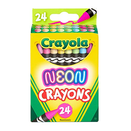 Crayola Neon Crayons, Back To School Supplies, 24Count, Multi (523410)
