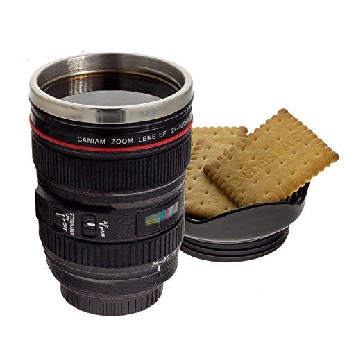 Smartfox Kaffeebecher Thermobecher im Kameraobjektiv-Design 400ml in Schwarz
