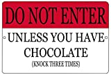 Rogue River Tactical Funny Do Not Enter Unless You Have Chocolate Metal Tin Sign Golf Wall Decor Bar Bedroom