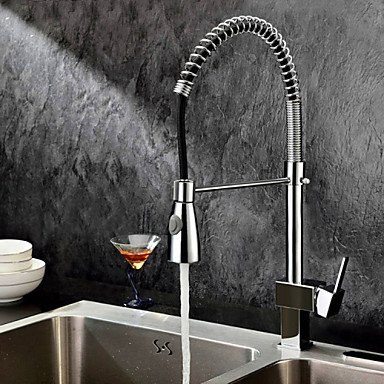 Why Choose Tap Single Handle Solid Brass Spring Pull Down Kitchen Faucet - Chrome Finish