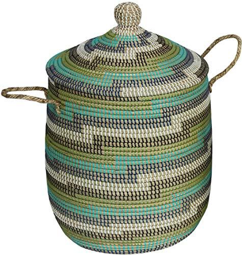 Wäschekorb Wäschesammler mit Deckel Dekokorb Aufbewahrungs-Box Allzweck-Korb Natur Seegras mit bunten Wicklungen (Grün Mix)