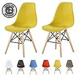 MCC Retro Design Stühle LIA Esszimmerstühle im 2er Set, Eiffelturm inspirierter Style für Küche, Büro, Lounge, Konfernzzimmer etc, 6 Farben, Kult (gelb)