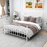Queen Size Metal Platform Bed Frame, Mattress Foundation, Box Spring Replacement with Headboard Footboard,(Queen, White)