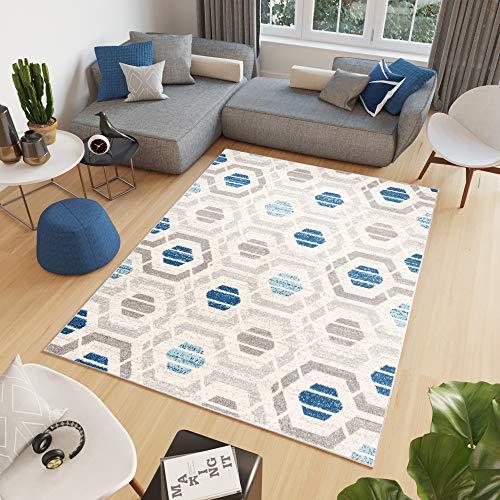 TAPISO Cosmo Tappeto Casa Tappeto Salotto Tappeti Moderni Grigio Blu Geometrico Astratto Pelo Corto 160 x 220 cm