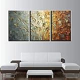 Arte de pared 3 piezas 50x70cm Sin marco Arte abstracto Hojas Pintura al óleo Arte de la pared Carteles Impresiones Cuadros de la pared para la sala de estar Decoración de la pared del hogar Cuadros