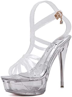 Womens Clear Cross Strap Sandals,Summer Transparent Platform High Heels,Stiletto Heel Dress/Party/Pumps