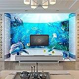 Pintura De Pared Grande Personalizada 3D Espacio Extendido Acuario Delfín Océano Mundo Submarino Sala De Estar Tv Papel Tapiz De Fondo Murales,250(W)*175(H)Cm