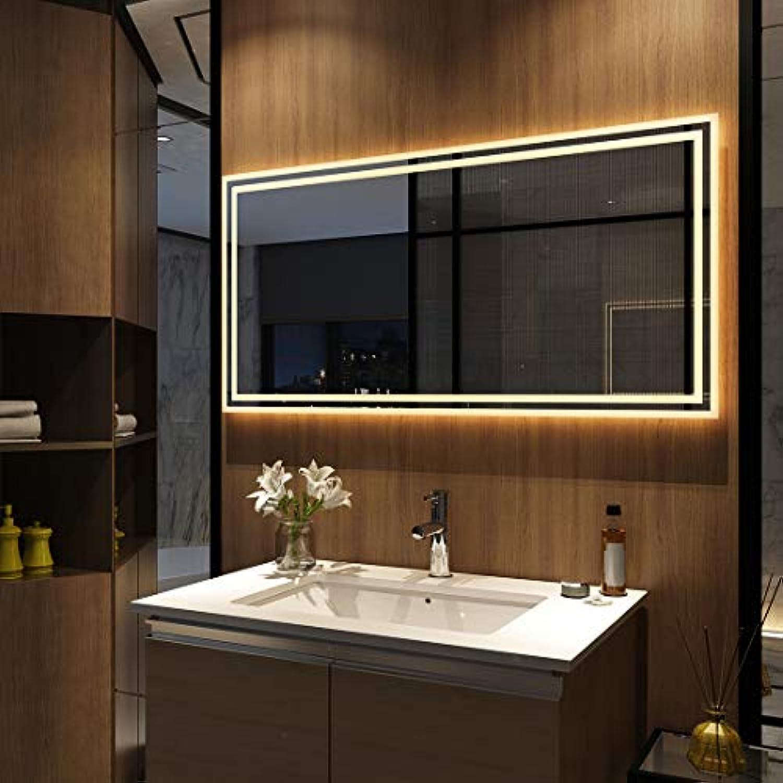 EMKE Badspiegel mit LED Beleuchtung 120 x 60 x 4,5cm, Spiegel mit Beleuchtung Warmwei, beleuchtet Badezimmerspiegel Wandspiegel Lichtspiegel (Modell 4)