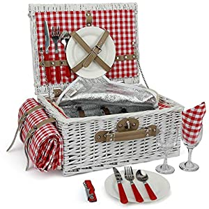 INNO STAGE Romantic Wicker Picnic Basket for 2 Persons, Special White Washed...