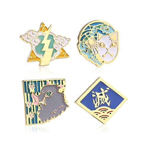 retsamradassaT Broche Coleccionable con diseño de Anime, 4 Piezas, botón Dorado para decoración, Vestido, Sombrero, Mochilas
